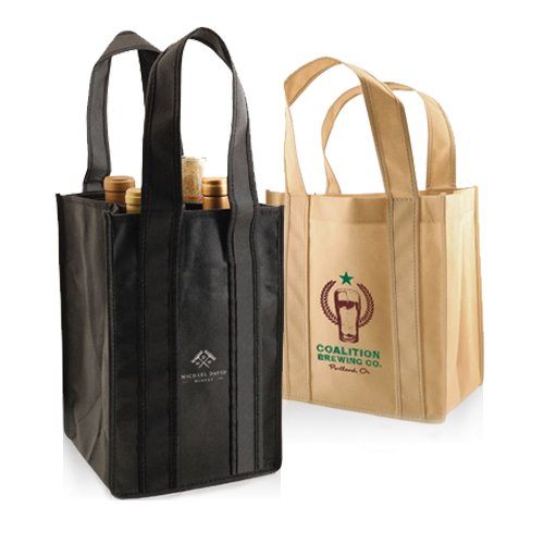 Awesome Pricing Whole Custom Imprinted Reusable Wine Bottle Bags Totes
