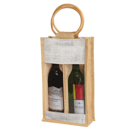 2 Bottle Jute Burlap W Window Handles