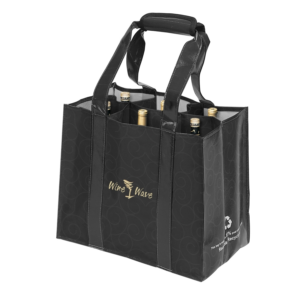 eco wine tote bag 6 bottle wine. Black Bedroom Furniture Sets. Home Design Ideas