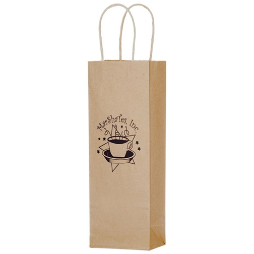 Ink Printed Natural Single Paper Bag With Handle Winebags